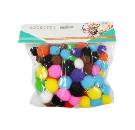 Lot de 100 pompons à trous 'Feutrines by Sodertex' Multicolores
