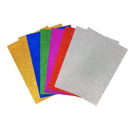 Lot de 10 Feuilles de mousse EVA 2 mm adhésives 'Feutrines by Sodertex' Multicolores pailletées 29.7 cm x 21 cm