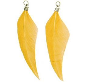 Lot de 2 Pendentifs Plumes 'Rico Design' Or 7 cm