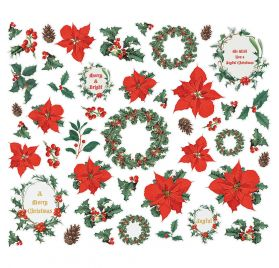 45 Die-cuts 'Simple Stories - Country Christmas' Floral Bits & Pieces