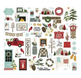 54 Die-cuts 'Simple Stories - Winter Farmhouse' Ephemera Bits & Pieces