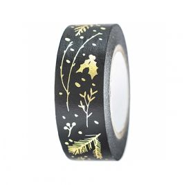 Masking Tape  'Rico Design - Paper Poetry' Branches Noir/Or 1.5 cm x 10 m