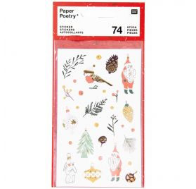 74 Autocollants 'Rico Design - Paper Poetry' Nostalgic Christmas'Classique