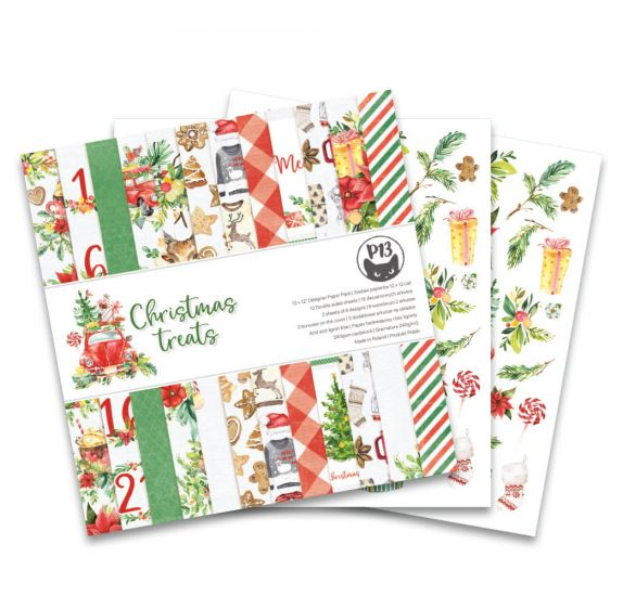 Assortiment de 12 papiers doubles 30x30 'Piatek - Christmas Treats'