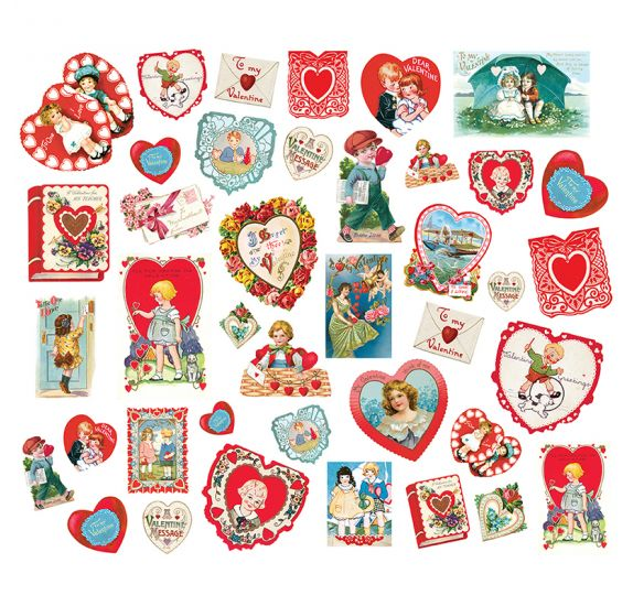 40 Die-cuts 'Simple Stories - My Valentine' Card Ephemera