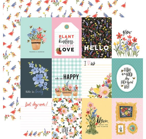 Papier double 30x30 'Carta Bella - Oh Happy Day' 3x4 Journaling Cards