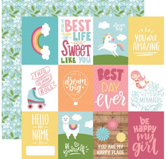 Papier double 30x30 ' Echo Park Paper - All Girl' 3x4 Journaling Cards