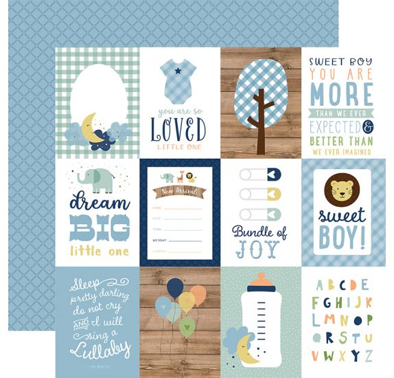 Papier double 30x30 ' Echo Park Paper - Baby Boy' 3x4 Journaling Cards