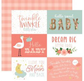 Papier double 30x30 ' Echo Park Paper - Baby Girl' 6x4 Journaling Cards
