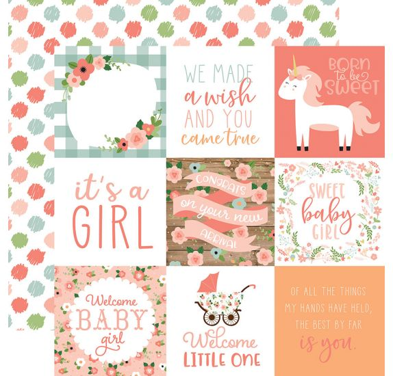 Papier double 30x30 ' Echo Park Paper - Baby Girl' 4x4 Journaling Cards