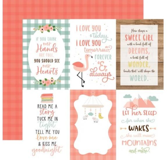 Papier double 30x30 ' Echo Park Paper - Baby Girl' 4x6 Journaling Cards
