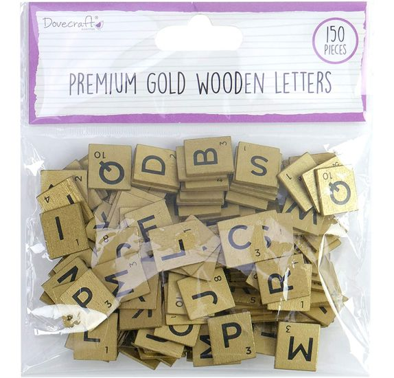 Lot de 150 lettres en bois 'Docrafts' Or