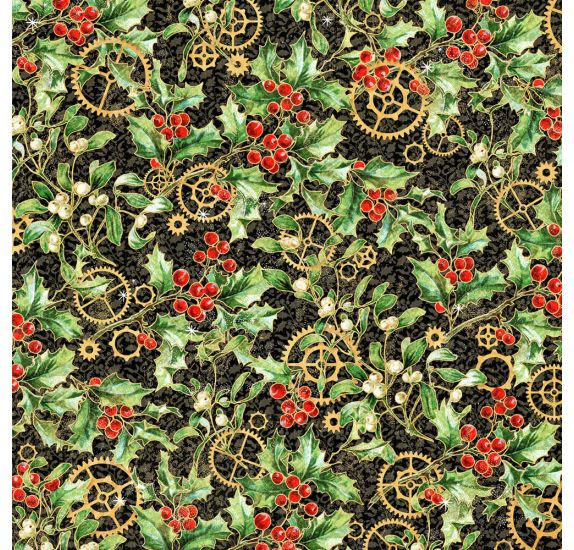 Papier double 30x30 'Graphic 45 - Christmas Time' Holly and Mistletoe