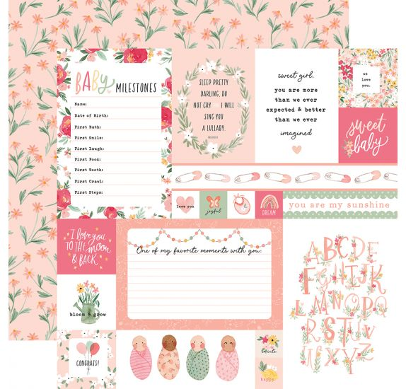 Papier double 30x30 ' Echo Park Paper - Welcome Baby Girl' Multi Journaling Cards