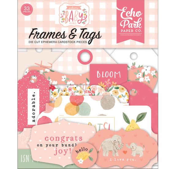 33 Die-cuts 'Echo Park Paper - Welcome Baby Girl' Cadres et Tags