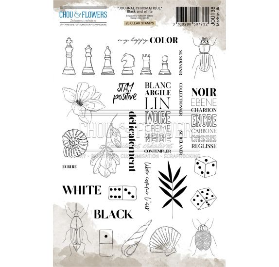 Tampons transparents 'Chou & Flowers - Journal Chromatique' Black and White