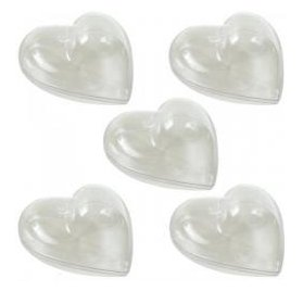 Lot de 5 boules plastique - PW International - Coeur 8 cm